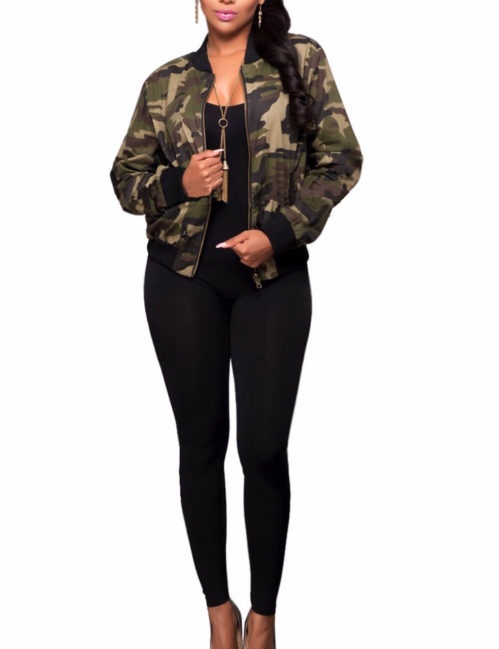 Women's Classic Casual Long Sleeve Camo Lightweight Zipper Short Jacket