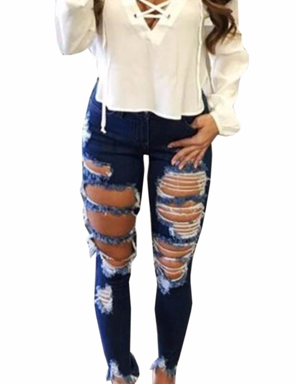 High Waisted Skinny Destroyed Ripped Hole Denim Pants Long Stretch Pencil Jeans