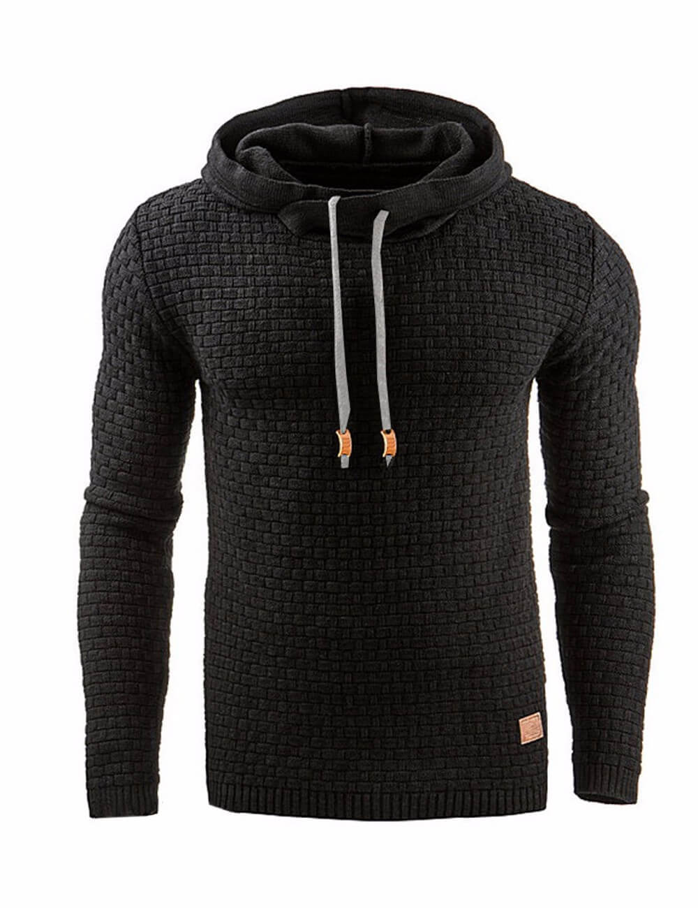 Men's Autumn Winter Casual Long Sleeve Funnel Neck Plaid Jacquard Pullover Hooded Top Sweatshirt Hoodies
