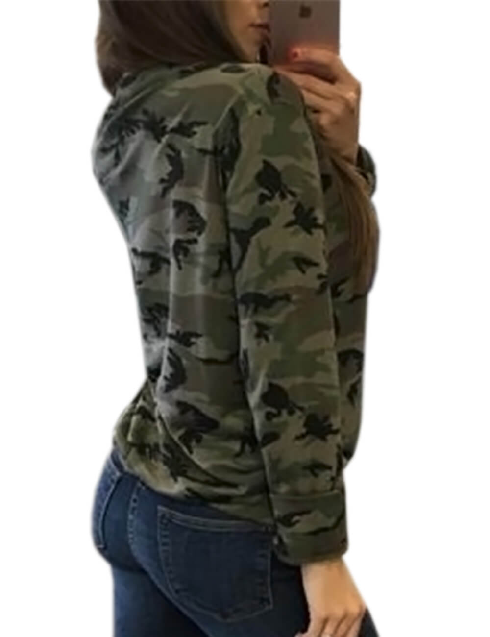Women's Camouflage Print Tops Bandage Deep V Low-cut Lace-up Blouses Loose Long Sleeve T-shirt