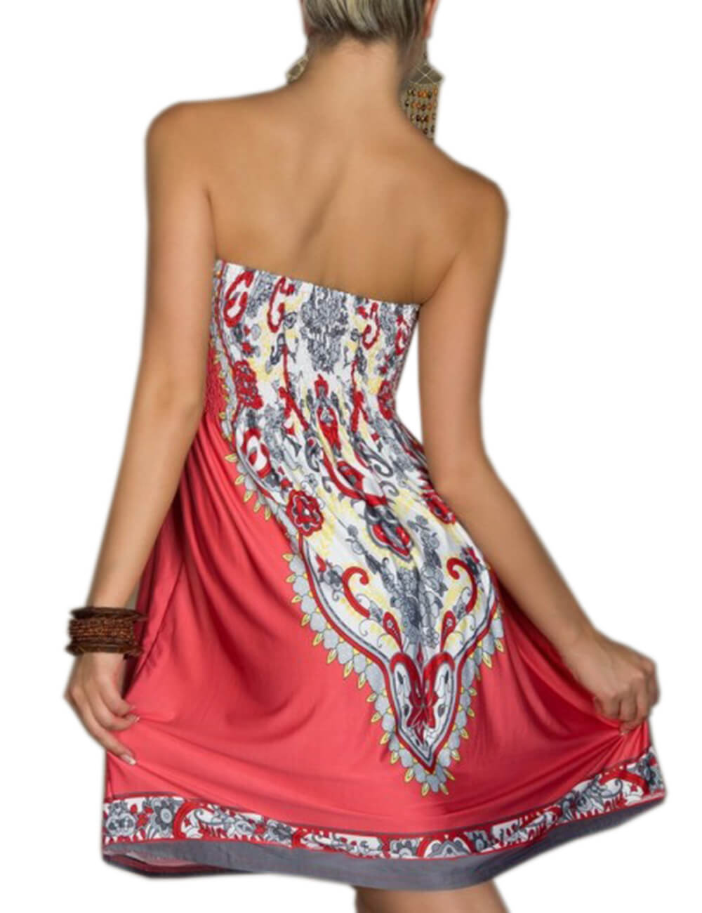 Womens Summer Strapless Floral Print Bohemian Vintage Tube Wrapped Chest Casual Mini Dress Beachwear