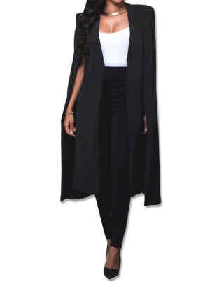 Women's Long Open Slit Sleeve Cloak Capes Jacket 4XXL Open Front Long Slit Blazer Cape Coat Plus Size