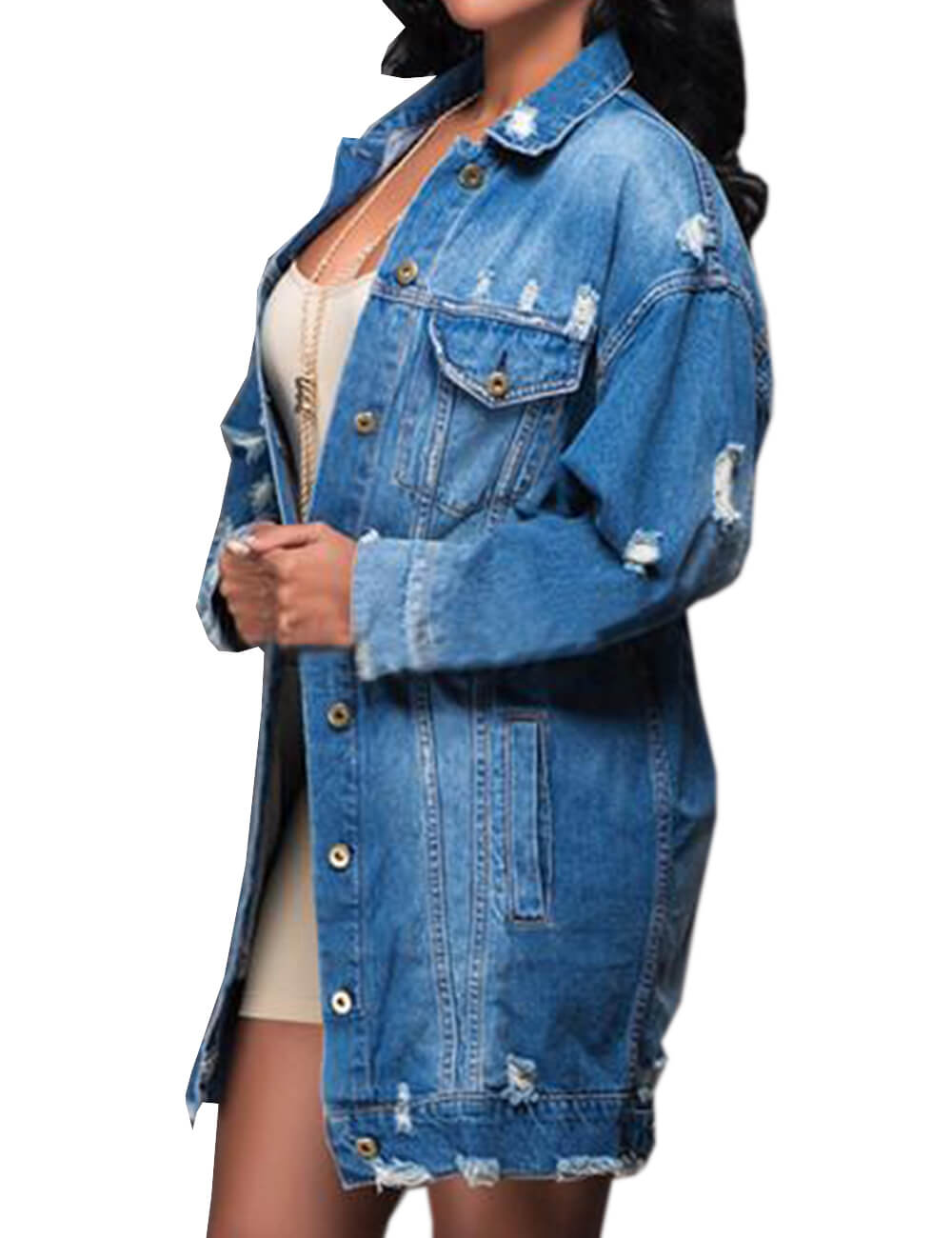 Oversized Distressed Denim Jeans Outfits Coat Fall Ripped Outerwear Denim Jacket Plus Size