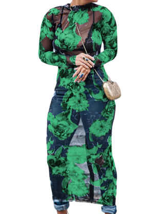 XXXITICAT Women's Floral Sheer See Through Dress Transparent Flower Printed Long Sleeve Cocktail Party Clubwear Mesh Dresses