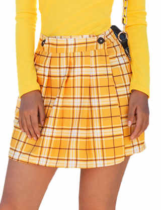 Sematomala Women's High Waist Pleated A Line Mini Skirt School Girl Casual Plaid Button Closure Uniform Skirt