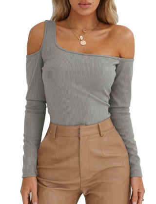 XXXITICAT Women's Solid One Shoulder Cut Out Knit Shirt Tops Chic Off The Shoulder Knitting Slash Neck Ribbed Blouse Jumper