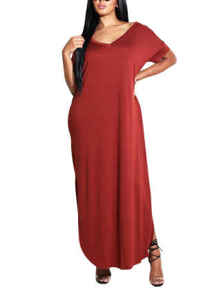 XXXITICAT Women's Summer Casual Plus Size One Shoulder Dress Ankle Lengh Off The Shoulder Split Long Maxi Dresses