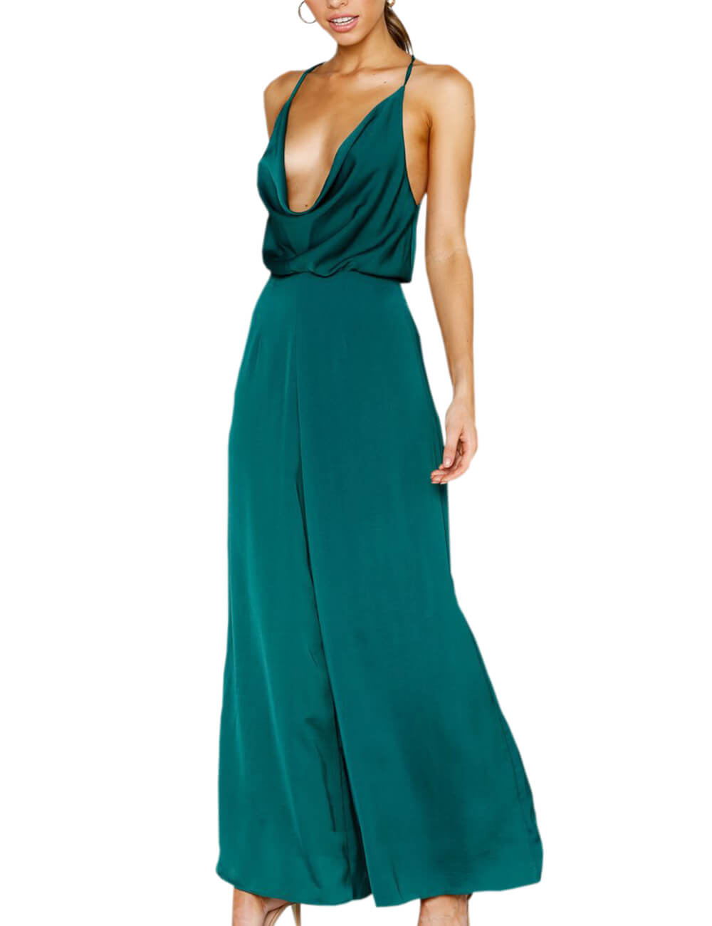 Women's Sexy Sleeveless Draped Wide Leg Outfit Satin Spaghetti Strap Backless Summer Loose Jumpsuit Rompers