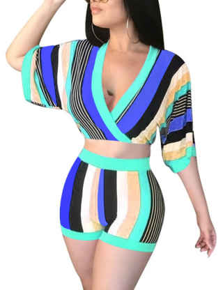 XXXITICAT Women's Two Piece Club Sets Striped Crop Tops And Biker Shorts Suits Ruched 2 Pcs Colorblock Matching Set Tracksuit