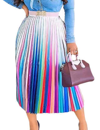 XXXITICAT Women's Casual Colorful Ankle Length A Line Skirts Gradient Printed High Waisted Rainbow Multicolor Pleated Skirts