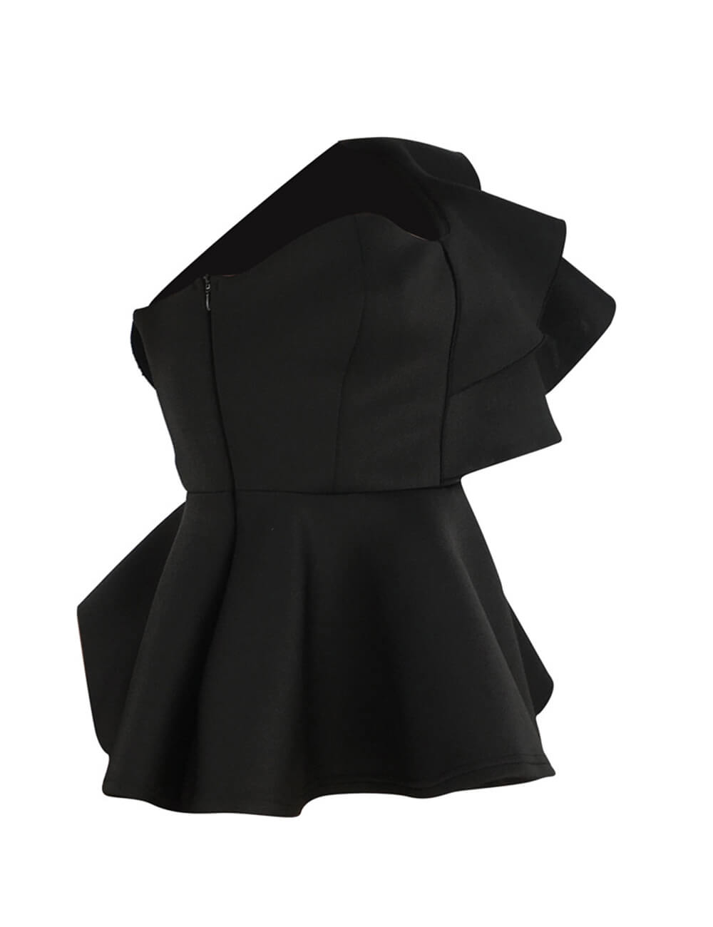 Chic Ruffle Trim High Class Shirt Tops Tube Top Long Sleeve Peplum Bodycon Slim Fit One Shoulder Blouse