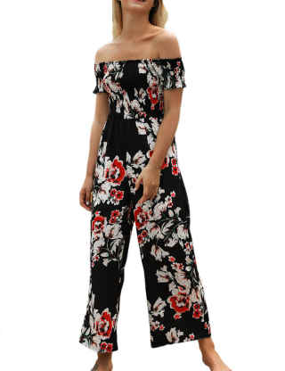 XXXITICAT Women's Strapless Floral Print Romper One Piece Outfits Flare Short Sleeve Wide Leg Off The Shoulder Jumpsuit