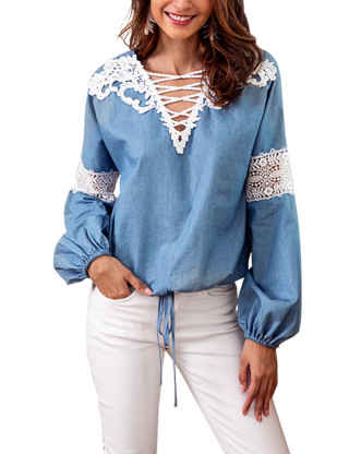 SEMATOMALA Women V Neck Criss Cross Lantern Long Sleeve Lace Crochet Casual Elegant Blouse Shirts Tops