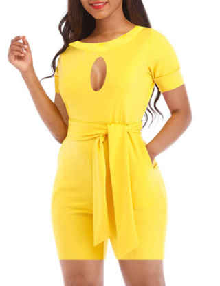 XXXITICAT Women's Casual Pure Short Sleeve One Piece Rompers Plus Size Lace Up Belted Hollow Out Jumpsuit With Pockets