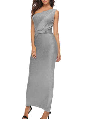 XXXITICAT Women's Sleeveless Side Split Long Bodycon Cocktail dresses One Shoulder Sequin Silver Criss Cross Maxi Party Dress