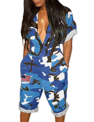 XXXITICAT Women's Independence Day Short Sleeve Camouflage Rompers Overalls Camo Wide Leg American Flag Jumpsuits