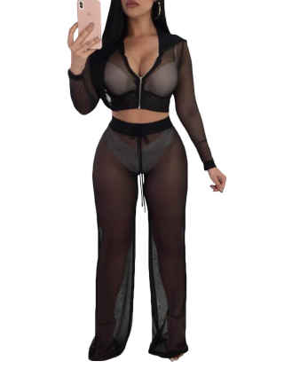 XXXITICAT Women's Sexy Hooded Crop Top And Wide Leg Pants Suits Zipper Up See Through Clubwear Mesh Two Piece Sets