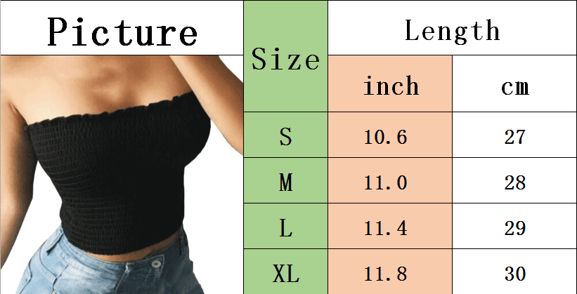 Women's Summer Sexy Pleated Fitted Stretchy Strapless Tee Shirt Bandeau Tube Tops