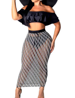 XXXITICAT Women's Sexy Flounce Trim Off The Shoulder Ruffle Two Piece Sets 2PCs Crop Top and Dress Suits See Through Outfits