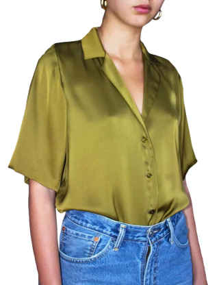 XXXITICAT Women's Vintage Stitched Hem Deep V Neck Casual Shirts Moss Green Elegant Loose Poly Short Sleeve Satin Blouse