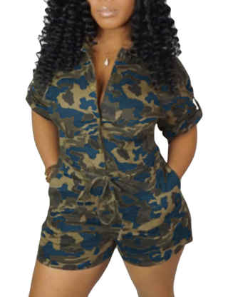 XXXITICAT Women's Short Sleeve Military Playsuits High Waist Camo Button Down Rompers Camouflage One Piece Jumpsuit