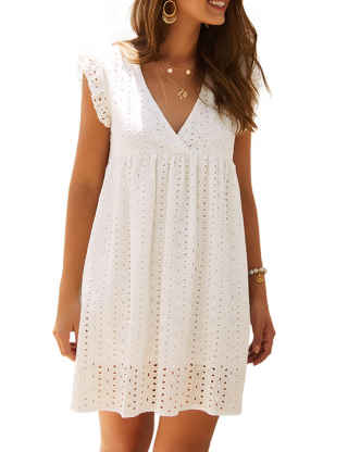 SEMATOMALA Women's V Neck Empire Waist Cap Sleeve Sexy Elegant Beachwear Casual Loose Fit White Lace Mini Dress