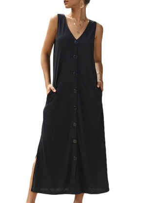 XXXITICAT Women's Casual Tank Dress Loose Sleeveless Long V Neck Solid Color Button Down Side Split Maxi Dresses