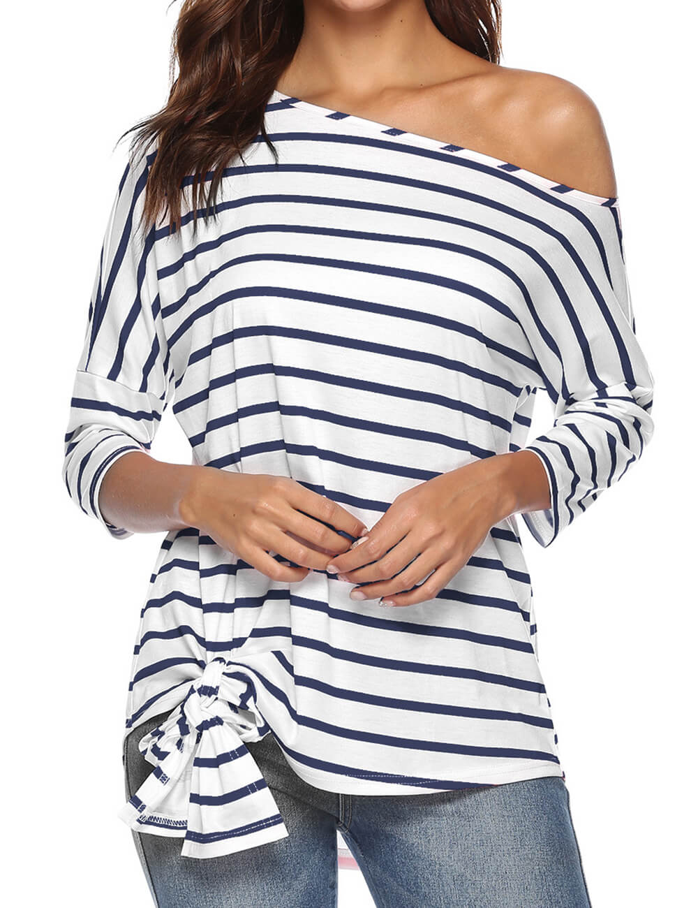 Women's Casual One Shoulder Tops 3/4 Sleeve Tie Front Knot Off Shoulder Loose Blouse Striped Shirts Tunic Tees