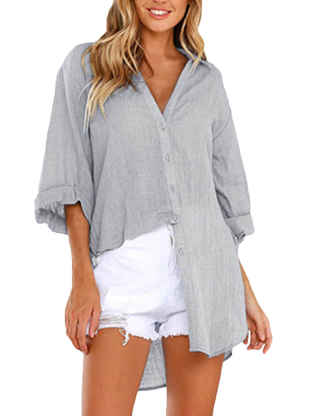 SEMATOMALA Women's V Neck Button Down Long Sleeve High Low Blouses Casual Loose Long Shirts Tops