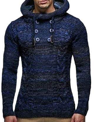 XXXITICAT Men's Long Sleeve Button Embellished Hooded Knitted Pullover Casual Slim Fit Turtle Neck Jumper Sweater Hoodies