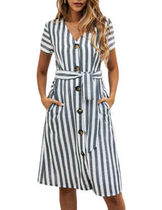 XXXITICAT Women's Summer Short Sleeve Striped Midi Dress V Neck Bow Tie Button Down Belted Swing Dresses With Pockets