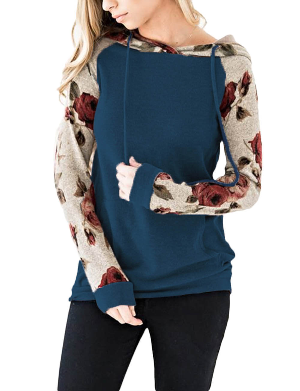 Long Sleeve Hooded Pullovers Patchwork Drawstring Sweatshirt Sports Floral Print Hoodies With Pockets