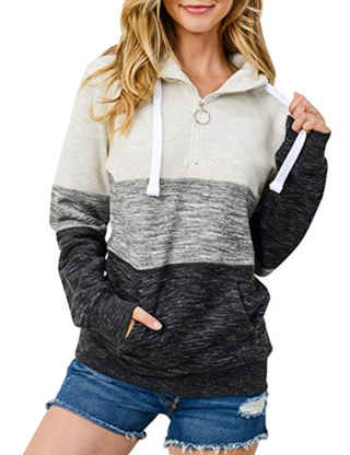 XXXITICAT Women's Casual Soft Drawstring Zipper Up Hooded Sweatshirts Plus Size Loose Color Block Pullover Hoodies