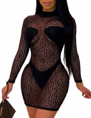 XXXITICAT Women's See Through Night Club Dress Sheer Mesh Stretchy Long Sleeve Turtleneck Leopard Print Bodycon Mini Dresses