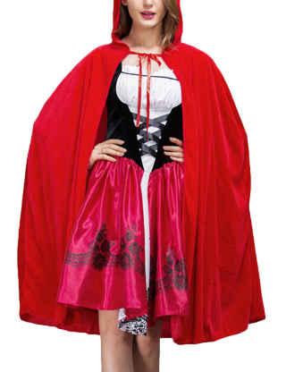 XXXITICAT Women's Little Red Riding Hood Costume Dress and Cloak Outfits Fancy Festival Party Adult Halloween Cosplay Suits