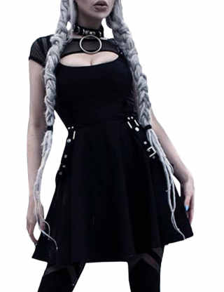 XXXITICAT Women's Cool Black Backless Zipper Up Pleated Harness Goth Strap Dresses Leather Whipped Gothic Punk Dress