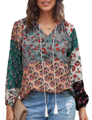 XXXITICAT Women's Casual Bohemian Loose Drawstring Boho Shirts Pullovers Long Sleeve Floral Printed Chiffon Blouse Tops