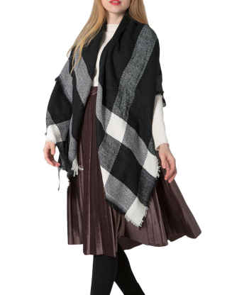 XXXITICAT Women's Native American Trendy Winter Triangle Cashmere Scarf Basic Plaid Tartan Shawls Tassel Scarves and Wraps