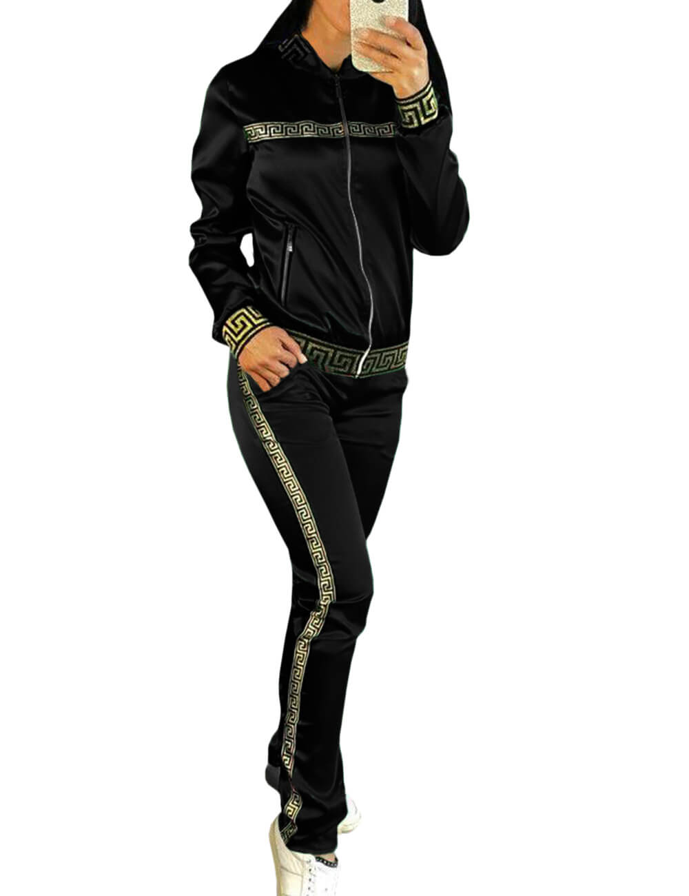 Long Sleeve Two Piece Tracksuit Plus Size Jackets and Pants Suits Workout 2 Piece Sportswear Sweatsuits