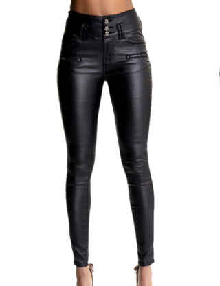 XXXITICAT Women's Black Stretch Jeans Button Closure Zipper Up High Waisted PU Biker Slim Trousers Faux Leather Skinny Pants