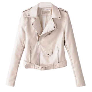 XXXITICAT Women's Slim Fit Stand Collar Leather Coat Elegant PU Leather Moto Leather Jacket