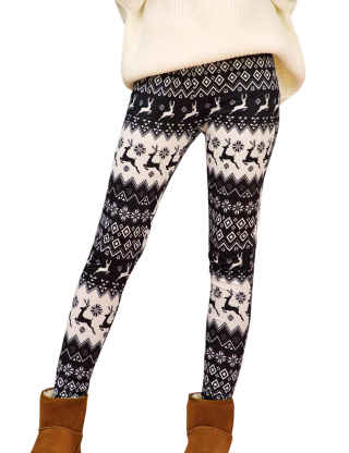 XXXITICAT Women's Christmas Snowflake 3D Printed Plus Size Pants Casual Colorful Xmas Snowman Fitted Skinny Leggings 5XL