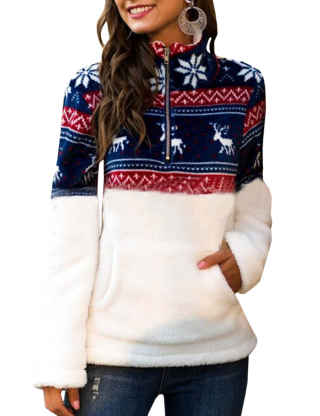 XXXITICAT Women's Christmas Hoodies Long Sleeve Snowflake Printed Teddy Sweatshirts  Stand Collar Drawstring Pullovers