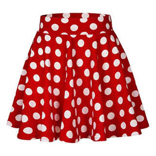 XXXITICAT Women's Fairy Elastic High Waisted Short Party Skirt Girl's Cute Pleated A Line Polka Dot Printed Mini Skirts