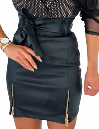XXXITICAT Women's High Waisted PU Mini Skirt Side Split Faux Leather Pencil Skirts With Tie Belt