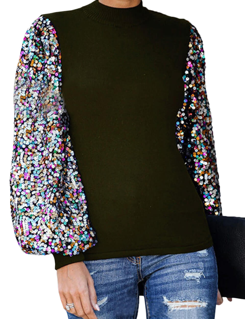 Women's Long Lantern Sleeve High Neck Sequined Blouse Top Puff Sleeve Patchwork Color Block Shiny Sweatshirts