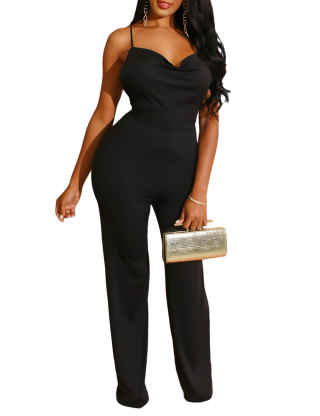 XXXITICAT Women's Sexy Cowl  Neck Strapless Overalls Clubwear Backless Wide Leg Criss Cross Bandage Slim Jumpsuits