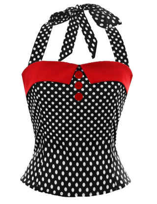 SEMATOMALA Women's Vintage Polka Dot Bow Tie Halter Tube Top Summer Sexy Strapless Sleeveless Blouse Shirts Top Party Clubwear