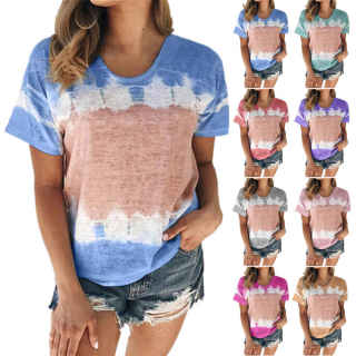 ECDAHICC Tie Dye Tee Colorblock Summer Short Sleeve Casual Loose T-Shirt Round Neck Tops