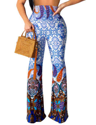 ECDAHICC Women Stretchy Snakeskin Printed Bell Bottom Flared Pants Boho Style High Waist Long Trousers Pants